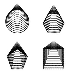 set of basic geometric shapes formed by dots vector image