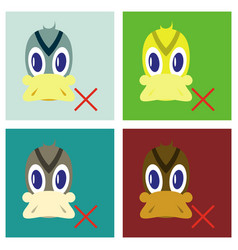 Set of flat icon in flat style duck vector