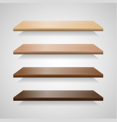 set of wood shelves with shadows vector image