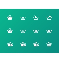 Shopping Basket icons on green background vector image