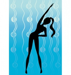 silhouette girl in gym training vector image