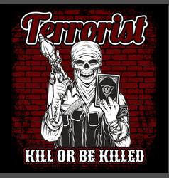 Skull terrorist masked and rpg isolated objects vector