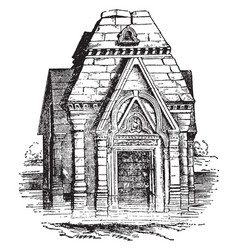 temple pandrethan vintage engraving vector image