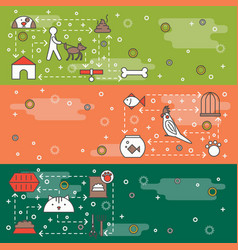 Thin line art pets web banner template set vector