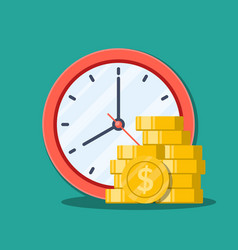 time is money concept office clock and money vector image