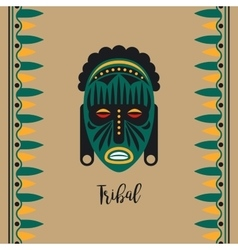 Tribal style card with green mask vector
