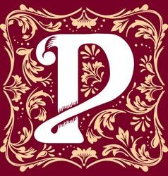 Vintage letter P vector