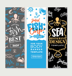 vintage sea food vertical banners vector image