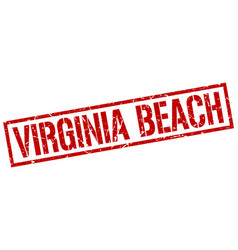 Virginia beach red square stamp vector