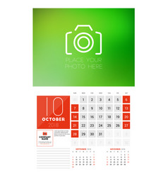 wall calendar template for 2018 year october vector image