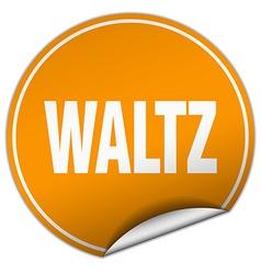Waltz round orange sticker isolated on white vector