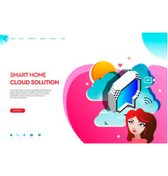 web page template of business apps smart home vector image