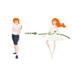 weight loss concept with red head woman body vector image