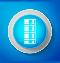 white abacus icon isolated on blue background vector image