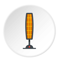 White electric heater on wheels icon circle vector