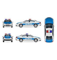 White police car mockup vector