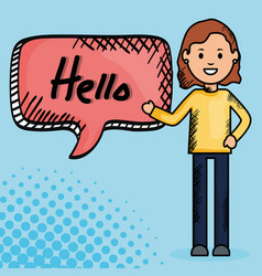woman and speech bubble with hello message vector image