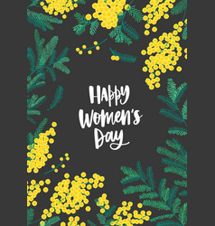 Women s day greeting card template with lettering vector