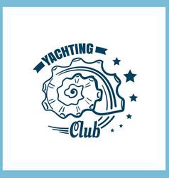 Yachting club badge with seashell vector