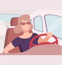 Young woman in sunglasses driving a car view from vector