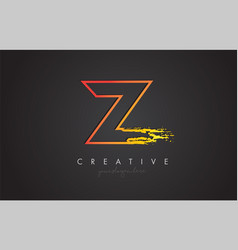 z letter design with golden outline and grunge vector image