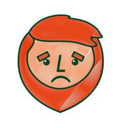 cartoon sad face man beard character vector image