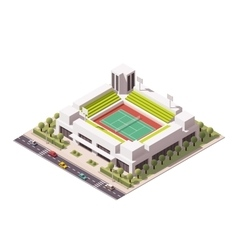 isometric tennis arena vector image vector image
