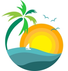 palm tree with sunset vector image