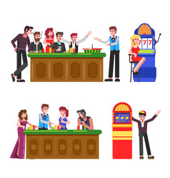 people with cigarettes and drinks at casino set vector image vector image