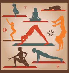 Yoga silhouettes vector