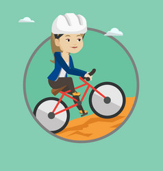 young woman on bicycle traveling in the mountains vector image vector image