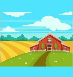 farm house or farmer household agriculture scenery vector image