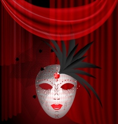 red drape and carnival mask vector image vector image