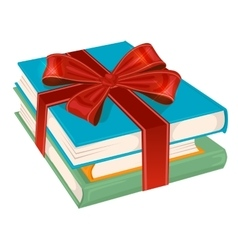 stack of books wrapped with a red ribbon vector image