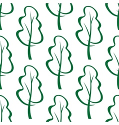 Stylized green trees sketch seamless pattern vector image vector image