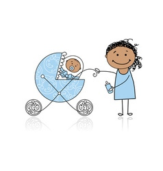 Mother with baby in buggy walking vector image