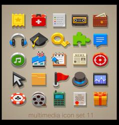 multimedia icon set-11 vector image