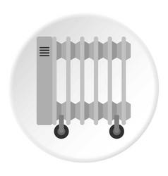 Portable electric heater icon circle vector