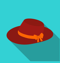 red female hat with a bow summer hat for adult vector image