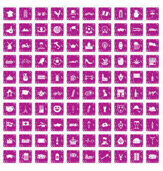 100 europe countries icons set grunge pink vector image