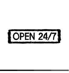 24 hour symbol 247 stamp design vector image