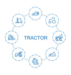 8 tractor icons vector