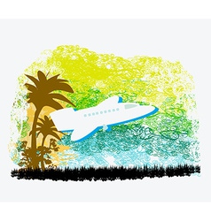 Airplane with palm tropics vector