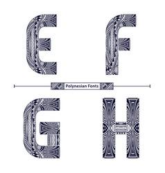 Alphabet polynesian style in a set efgh vector