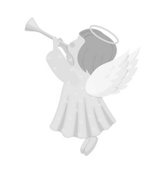 Angel with a pipe single icon in monochrome style vector
