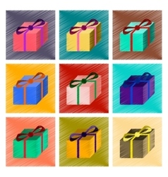 Assembly flat shading style gift box vector