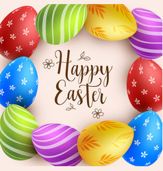 background with multicolored easter eggs vector image