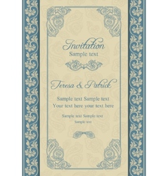 Baroque wedding invitation beige and blue vector image