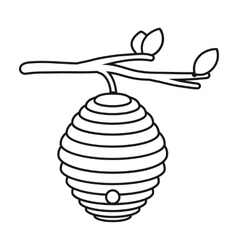 Beehive icon in outline style isolated on white vector image