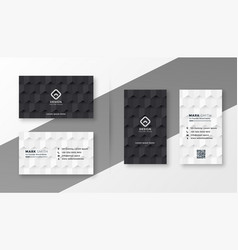 Black and white business card design template vector